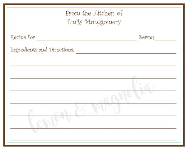 Brown and Blue Border Personalized Recipe Cards