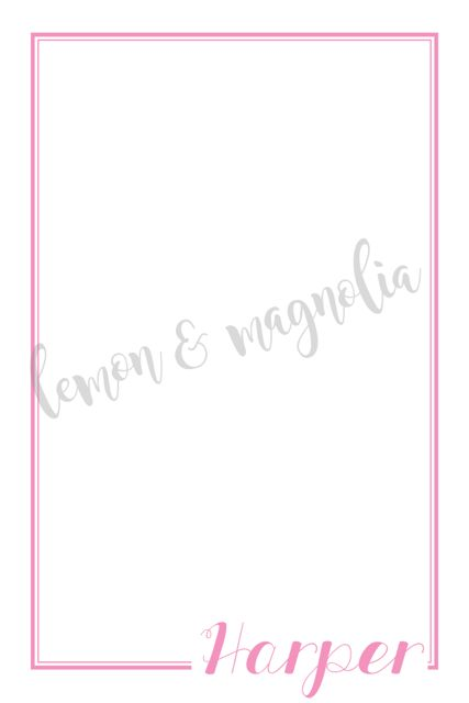 Flat Notecard with Border and Name on Side