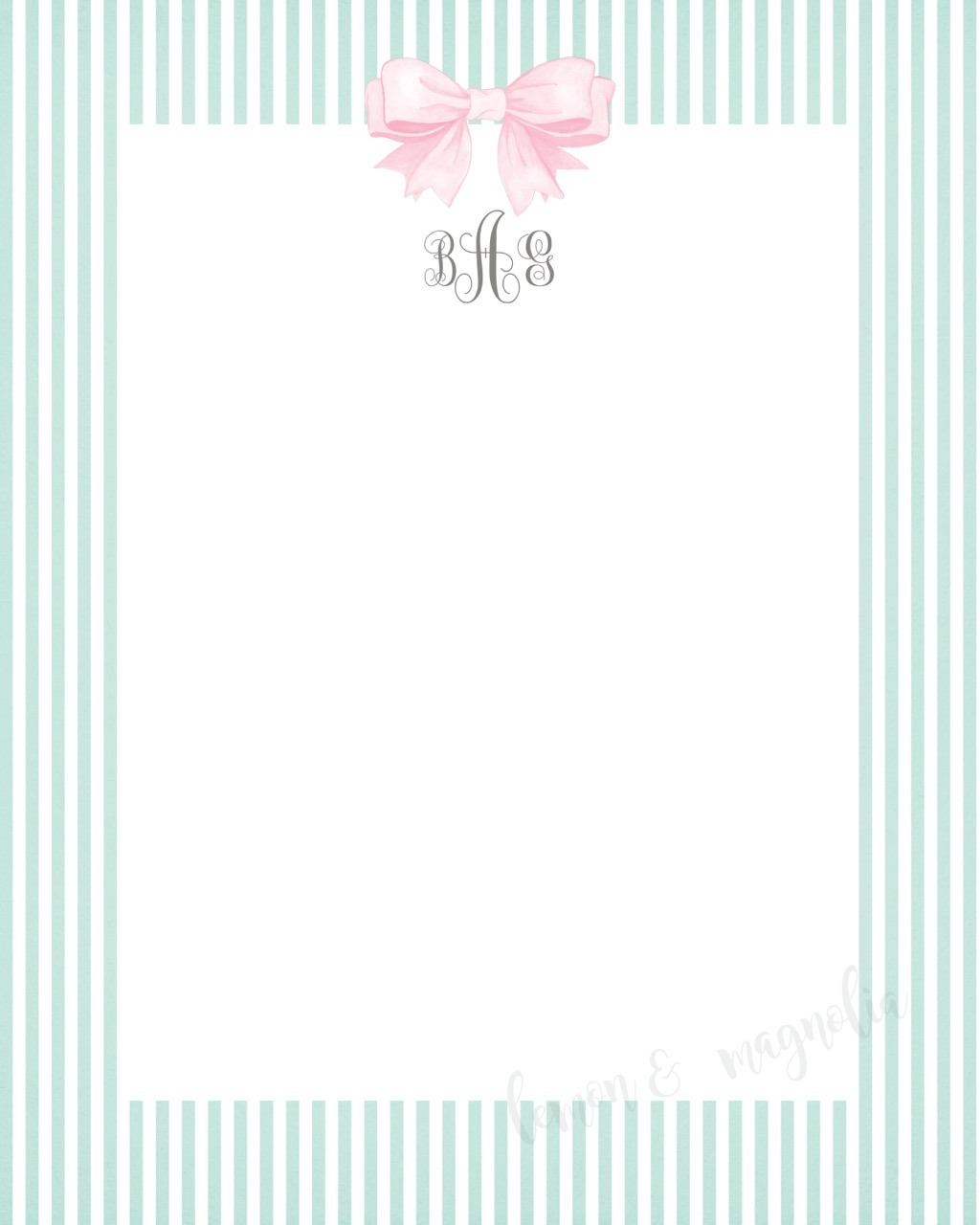 Mint Seersucker with Bow and Monogram Notecard
