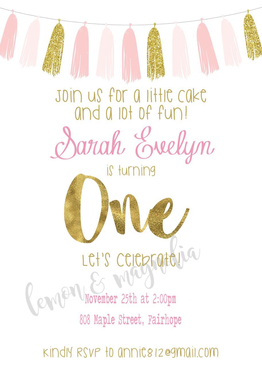 Pink and Gold Tassel Birthday Invitation