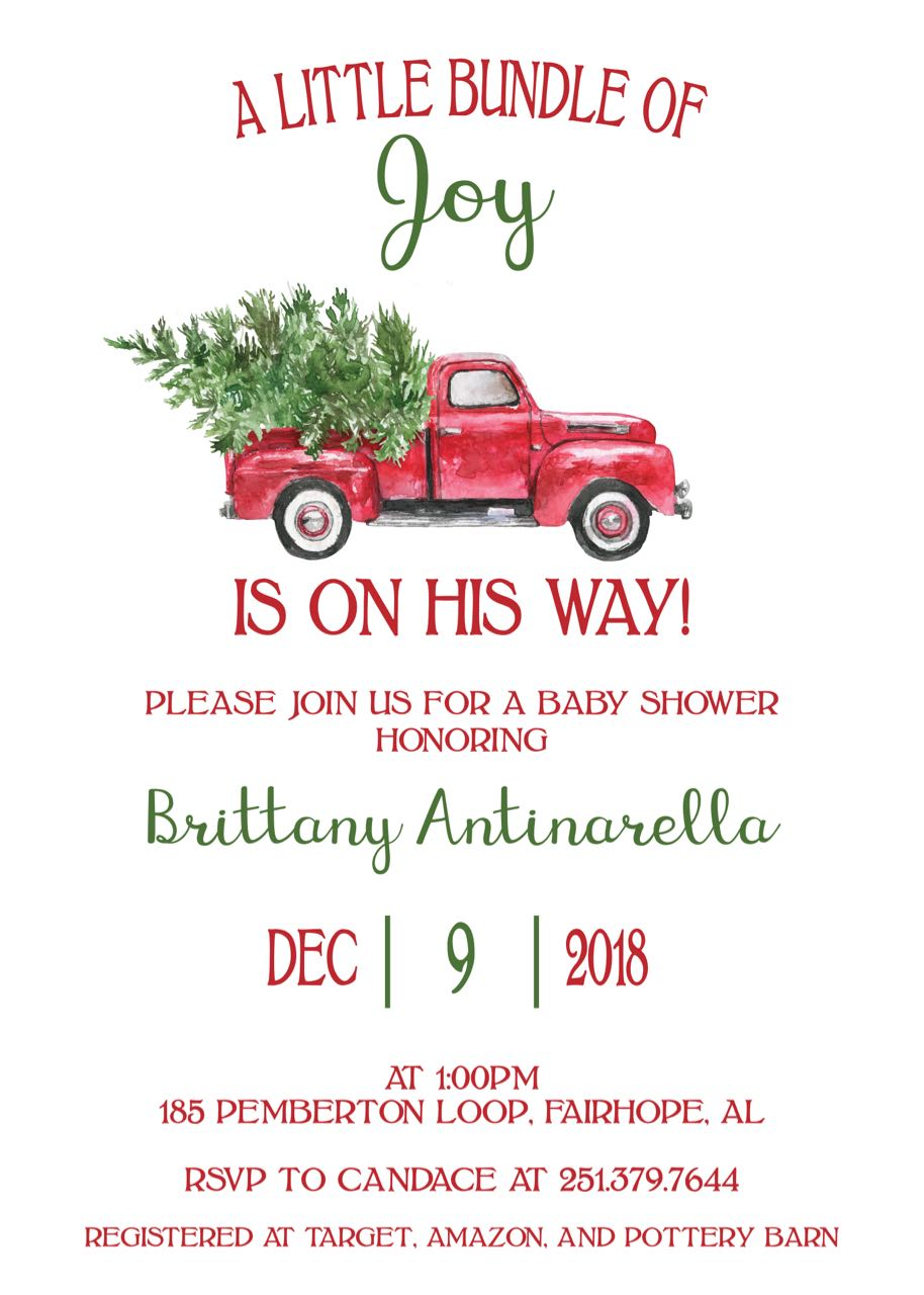 Red Truck Christmas Baby Shower Invitation