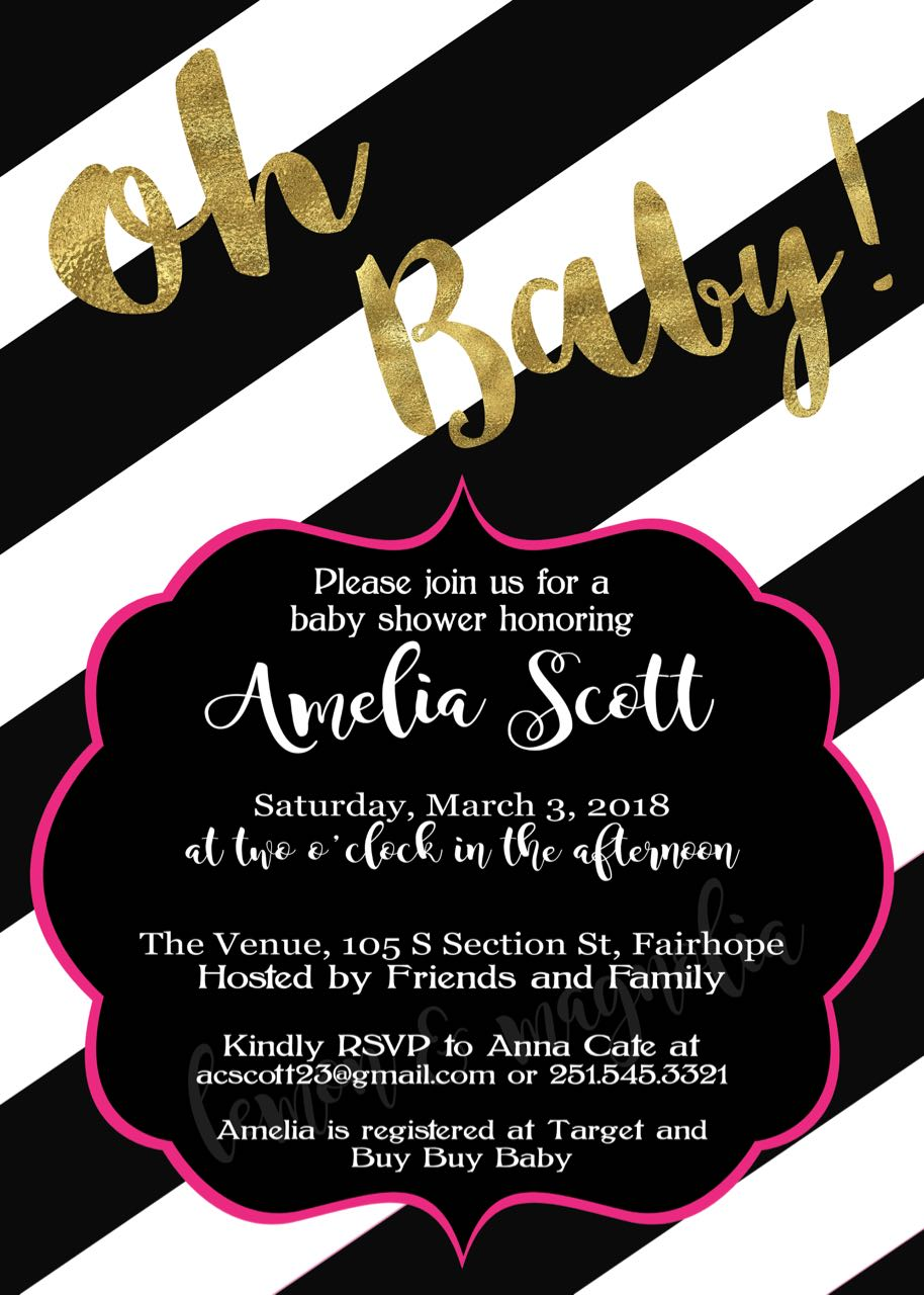 oh baby black and white stripe invitation