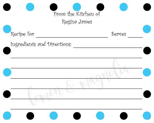 Black and Blue Dot Personalized Recipe Cards