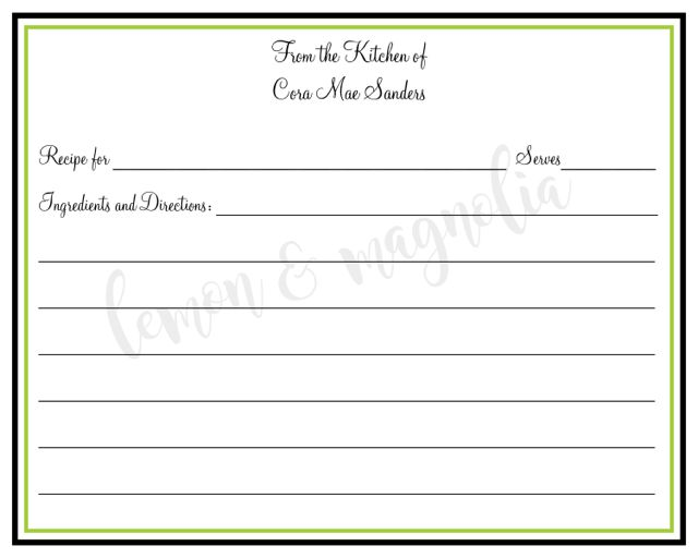 Black and Lime Personalized Recipe Card