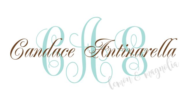 Blue and Brown Fancy Monogram Calling Card