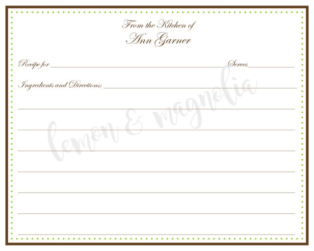 Brown And Lime Polka Dots Personalized Recipe Cards