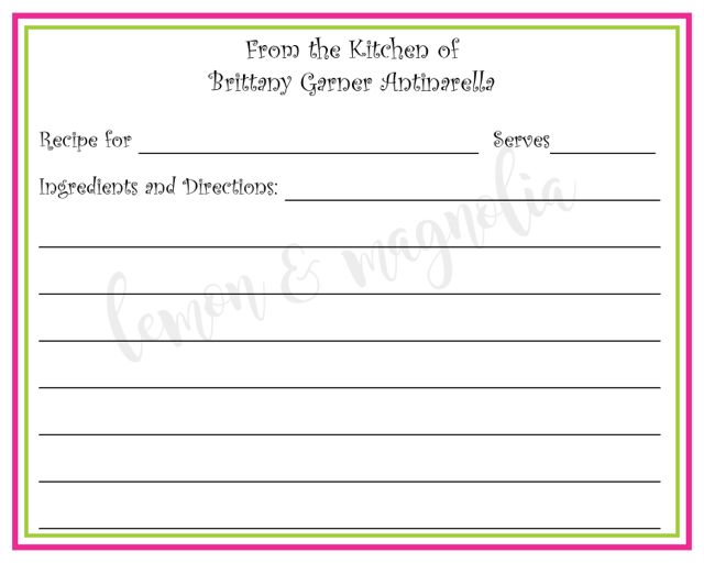 Hot Pink and Lime Personalized Recipe Card