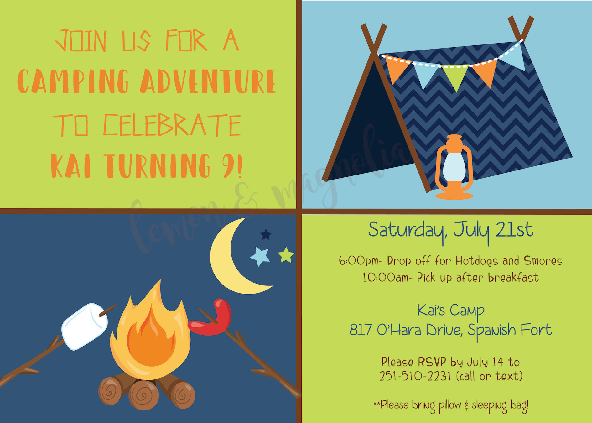 Boy Camping Invitation