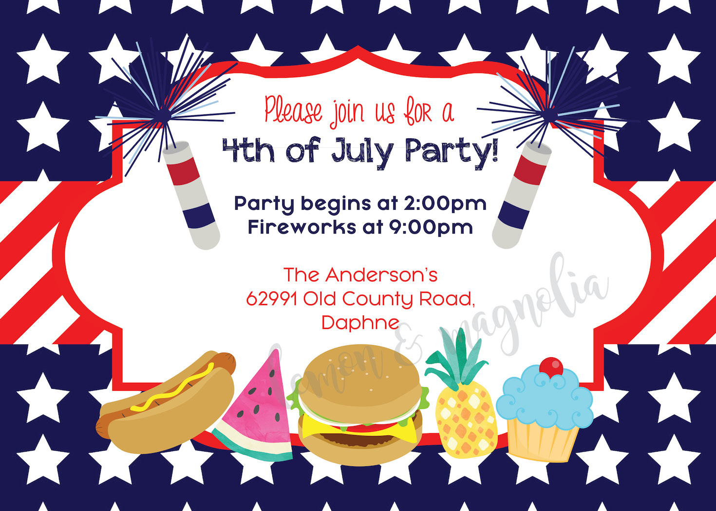 4th of July Stars and Stripes Invitation