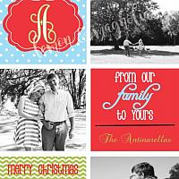 6 square Red, Blue, and Green Personalized Photo Christmas Card