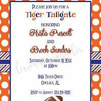 Auburn Orange Dot with Stripe Invitation