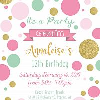 Mint Pink Gold Dot Invitations