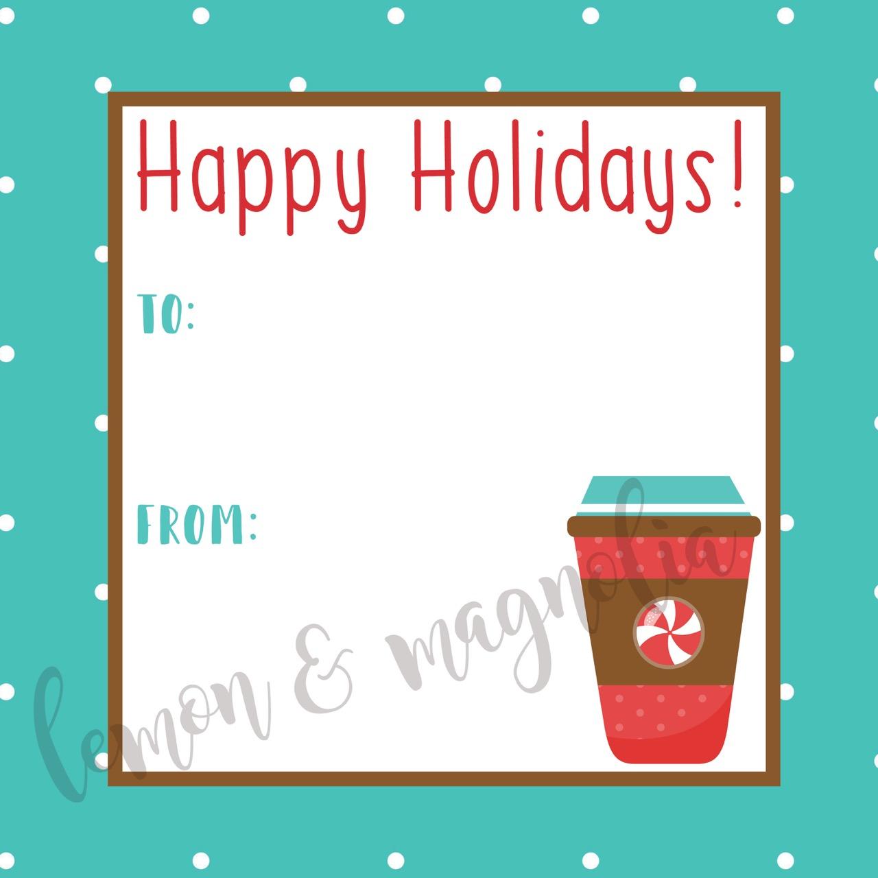 Aqua Dot Cocoa Holiday Gift Tag