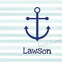 Personalize Aqua Watercolor Stripe with Anchor Notecards