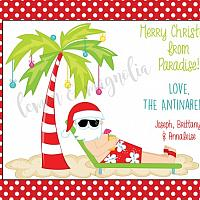 Beach Santa Christmas Card