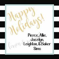 Black and White Stripe Holiday Personalized Gift Tag