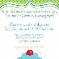 Blue Cupcake Birthday Invitation