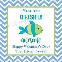 Blue and Green Fish Valentine's Day Tag