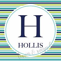 Blue and Green Stripe Initial Calling Card