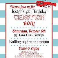 Blue and White Crawfish Boil Invitation