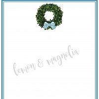 Boxwood Wreath with Bow Personalized Notecard
