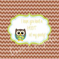 Boys Brown Owl Birthday Favor Tag