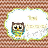 Boys Brown Owl Thank You Notecard