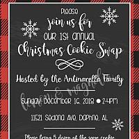 Buffalo Check Cookie Swap Invitation