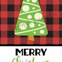 Buffalo Plaid with Tree Personalized Christmas Gift Tag