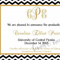 Black Chevron with Gold Graduation Announcement with monogram