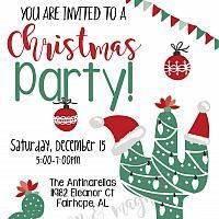 Christmas Cactus Christmas Party Invitation