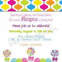 Candy Gumdrops and Lollipops Birthday Invitation