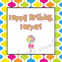 Candy Gumdrops and Lollipops Birthday Favor Tags