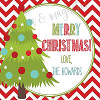 Chevron with Tree Personalized Christmas Gift Tag