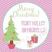 Chevron Pink Christmas Gift Tags