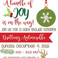 A Bundle of Joy Christmas Baby Shower Invitation