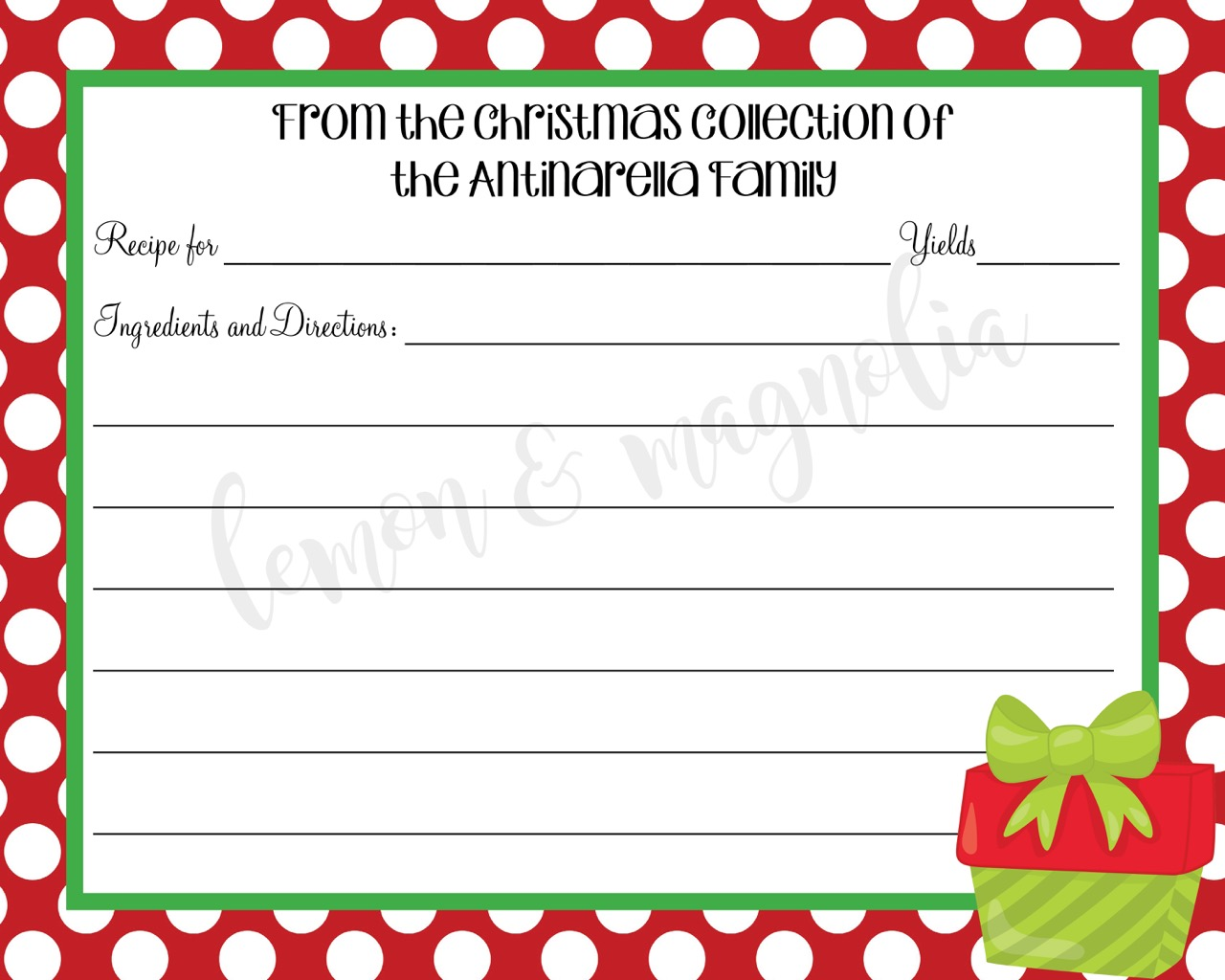 Red and Green Christmas Present Recipe Card