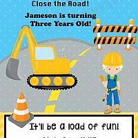 Boy Birthday Construction Invitation