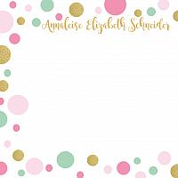 Mint Pink Gold Dot Personalized Thank You Notecards