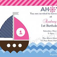 Ahoy Nautical Girls Birthday Invitation