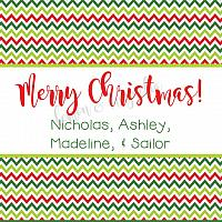 Green and Red Chevron Personalized Christmas Calling Card