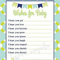 Lime and Aqua Boy Nautical Baby Shower Wish Card