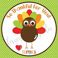 Lime Polka Dot Turkey Thanksgiving Gift Tag