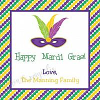 Mardi Gras Beads and Mask Gift Tag