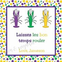 Mardi Gras Polka Dot with Crawfish Gift Tag