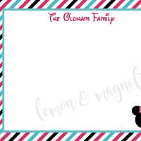 Striped Mickey or Minnie Flat Personalized Notecard