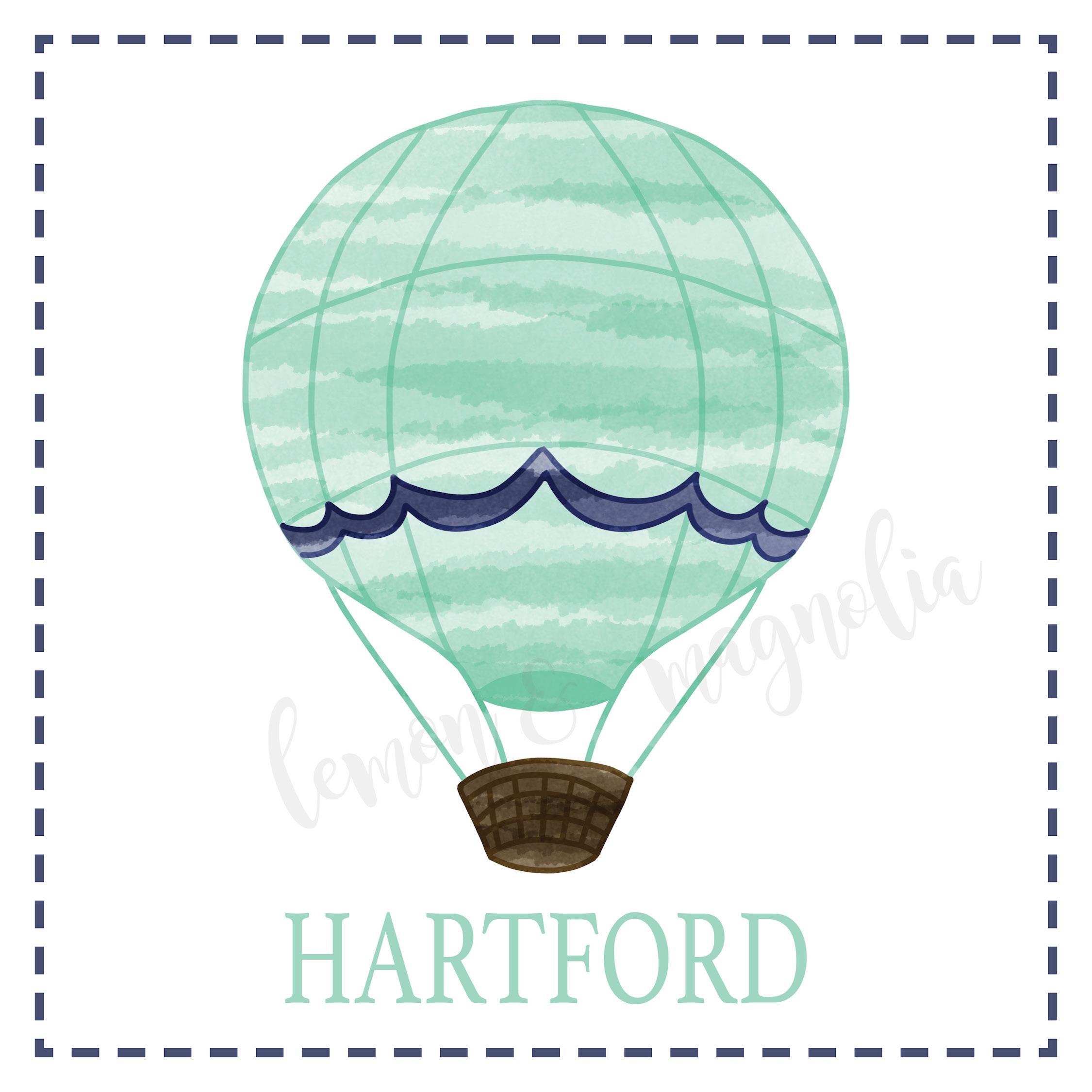 Aqua and Navy Hot Air Balloon Calling Card