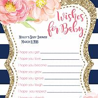 Navy Stripe with Watercolor Peony Baby Wish Card