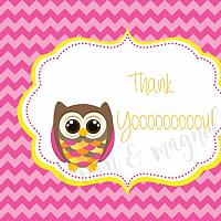 Pink Chevron Owl Birthday Thank You Notecards