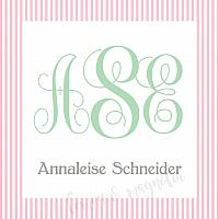 Girls Pink Seersucker Monogram Calling Card